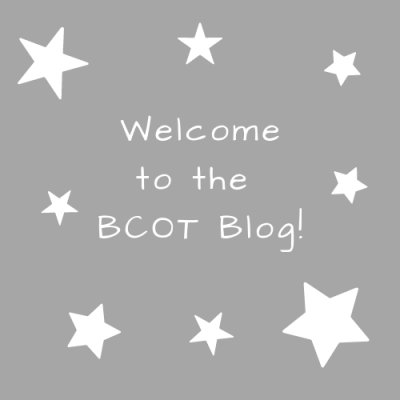 "Gray background with white stars and the words ""Welcome! to the BCOT Blog"""